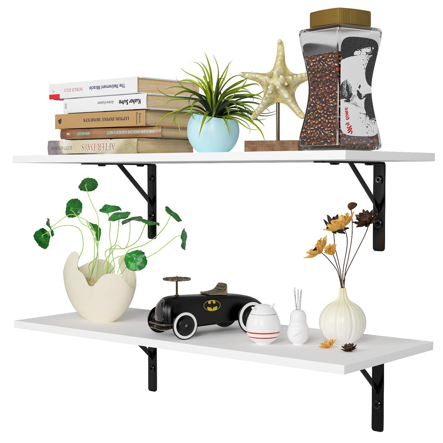 Homfa Floating Shelves Wall-Mounted Display Storage Ledge with Bracket for Bathroom, Kitchen, Living Room, Bedroom, Large 31.5X 11.6X 7.3in (White)