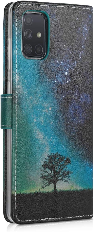 Case con Tarjetero kwmobile Funda para Samsung Galaxy A71 Carcasa de Cuero sint/ético con dise/ño de Mapa Mundial