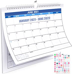 HOUSE DAY 2021 Wall Calendar - 2021-2022 Calendar Monthly Wall Calendar 18 Month with Thick Paper Julian Dates,Twin-Wire Binding & Large Blocks, for Planning Organizing for School Office Home