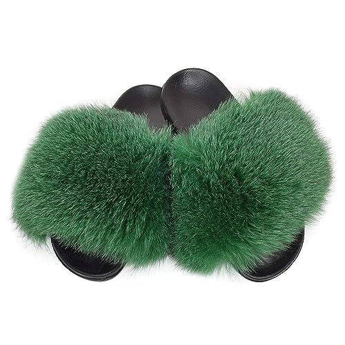 Sandalen mit Pelz Pantoffeln Schlappen Fell Latschen mit schwarz-weiß Pelz NEU
