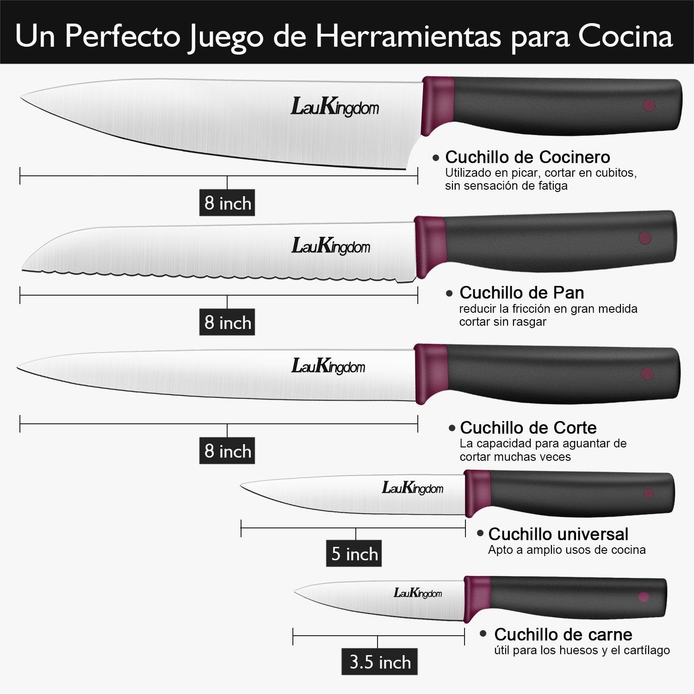 Laukingdom Cuchillos de Cocina, Juego de Cuchillos de 5 piezas, Cuchillos Acero Inoxidable, Cuchillos Profesional, Incluye Cuchillo Cocinero, Cuchillo ...