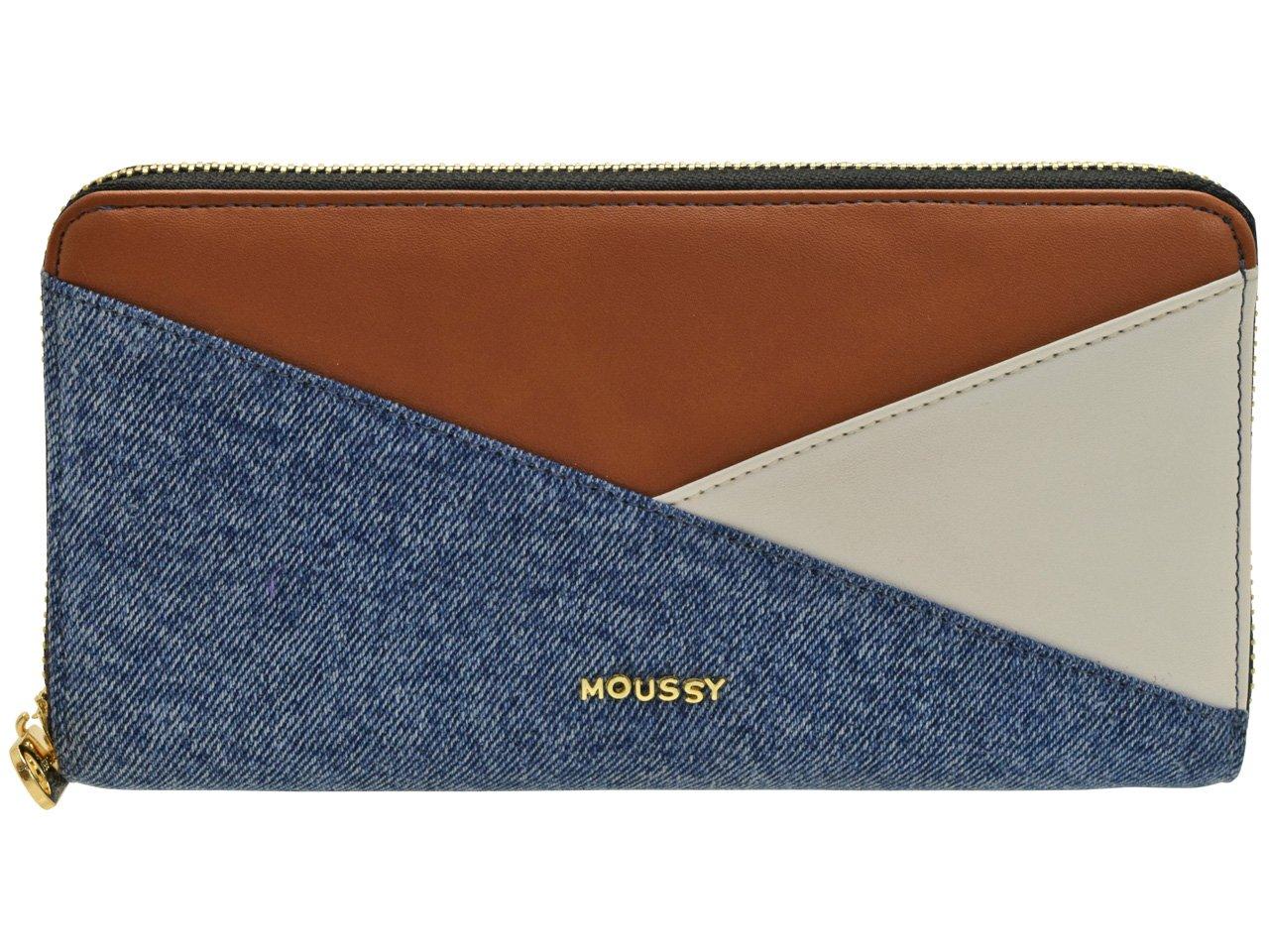 (マウジー) moussy 財布 長財布 ラウンドファスナー GISELE M2 ROUND LONG WALLET 合成皮革 m01200002 B07CK1DHPQ インディゴマルチ インディゴマルチ