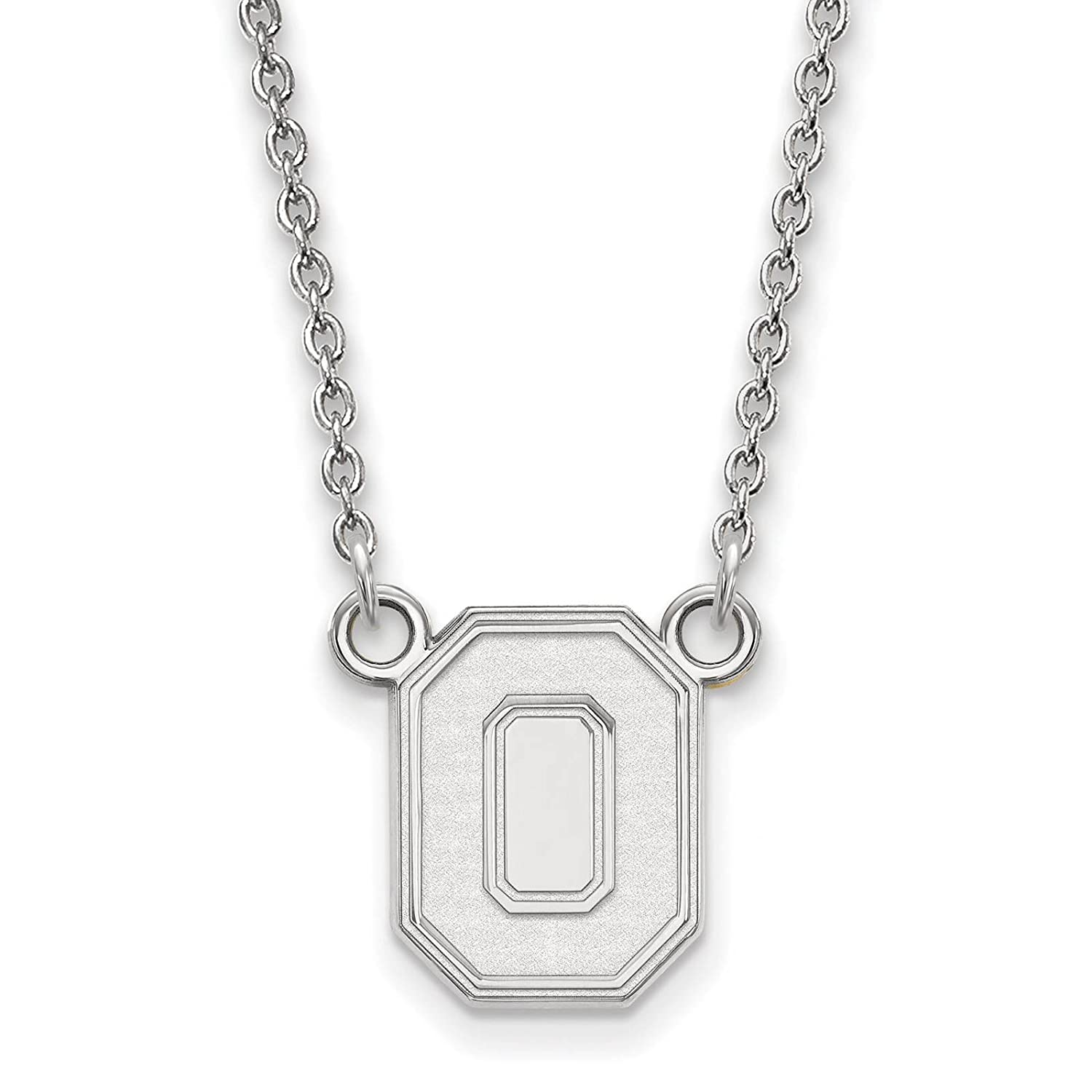 925 Sterling Silver Rhodium-plated Laser-cut Ohio State University Small Pendant w//Necklace 18