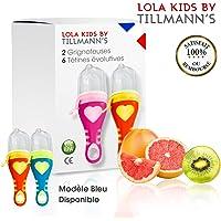 Lola Kids Tetine Grignoteuse Bebe/ 2 Grignoteuses + 6 Tetines fruit Evolutives/En Silicone Medical et Sans Bisphénol A/Anneau d'Alimentation soulage les gencives