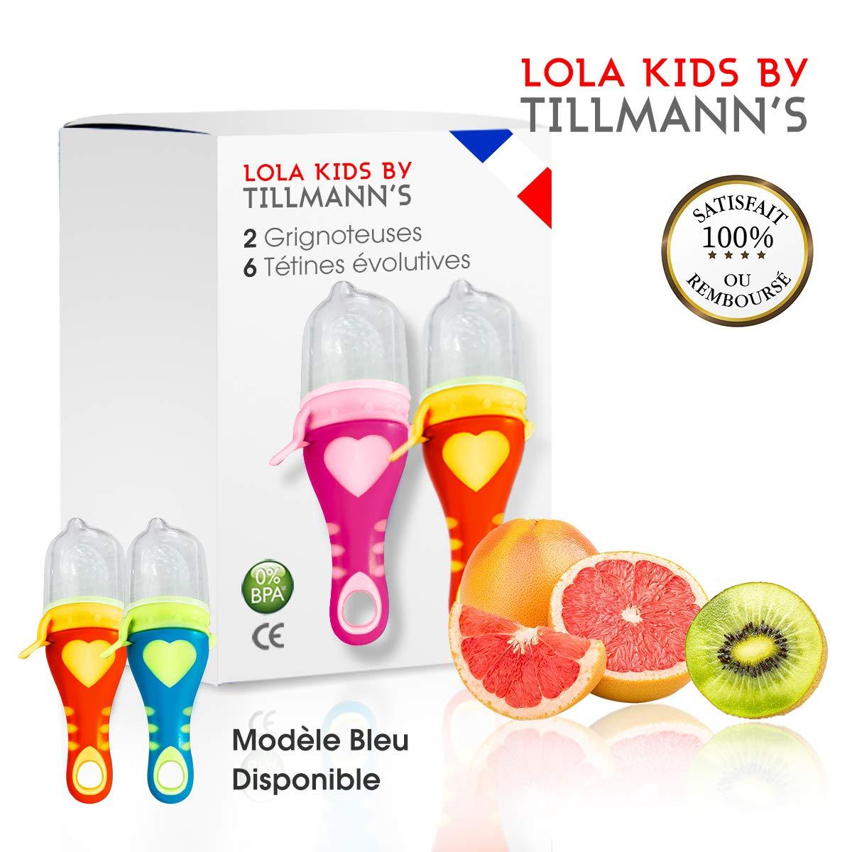 Lola Kids Tetine Grignoteuse Bebe/ 2 Grignoteuses (1 Rose et 1 Orange) + 6 Tetines fruit Evolutives/En Silicone Medical et Sans Bisphénol A/Anneau d'Alimentation soulage les gencives product image