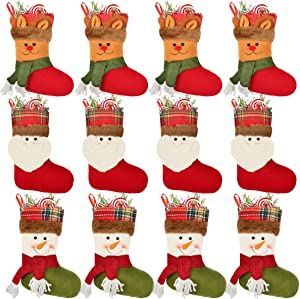 Aiduy 12 Pack Mini Christmas Stockings Silverware Holder Pockets Gift Treat Card Bags with 3D Santa Snowman Reindeer Mantle Xmas Stocking for Christmas Decorations and Party Favors, 7 Inch