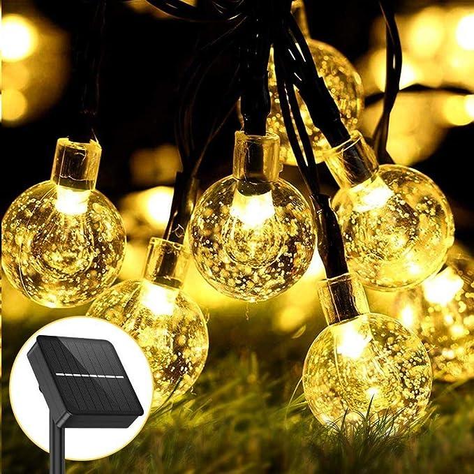 Guirnaldas Luces Exterior Solar - Aerb 50LEDs 9.2m para Festivales de Jardín, Patio, Hogar, Bodas, Fiesta de Navidad, Blanco Cálido(Bola de Cristal)