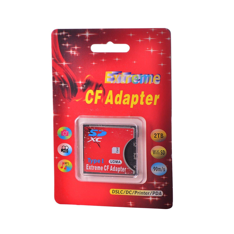 LEAGY - Adaptador de tarjeta SD CF WiFi inalámbrico SD MMC SDHC ranura SDXC a CF tipo I Compact Flash Memory CF tarjeta adaptador de alta velocidad ...