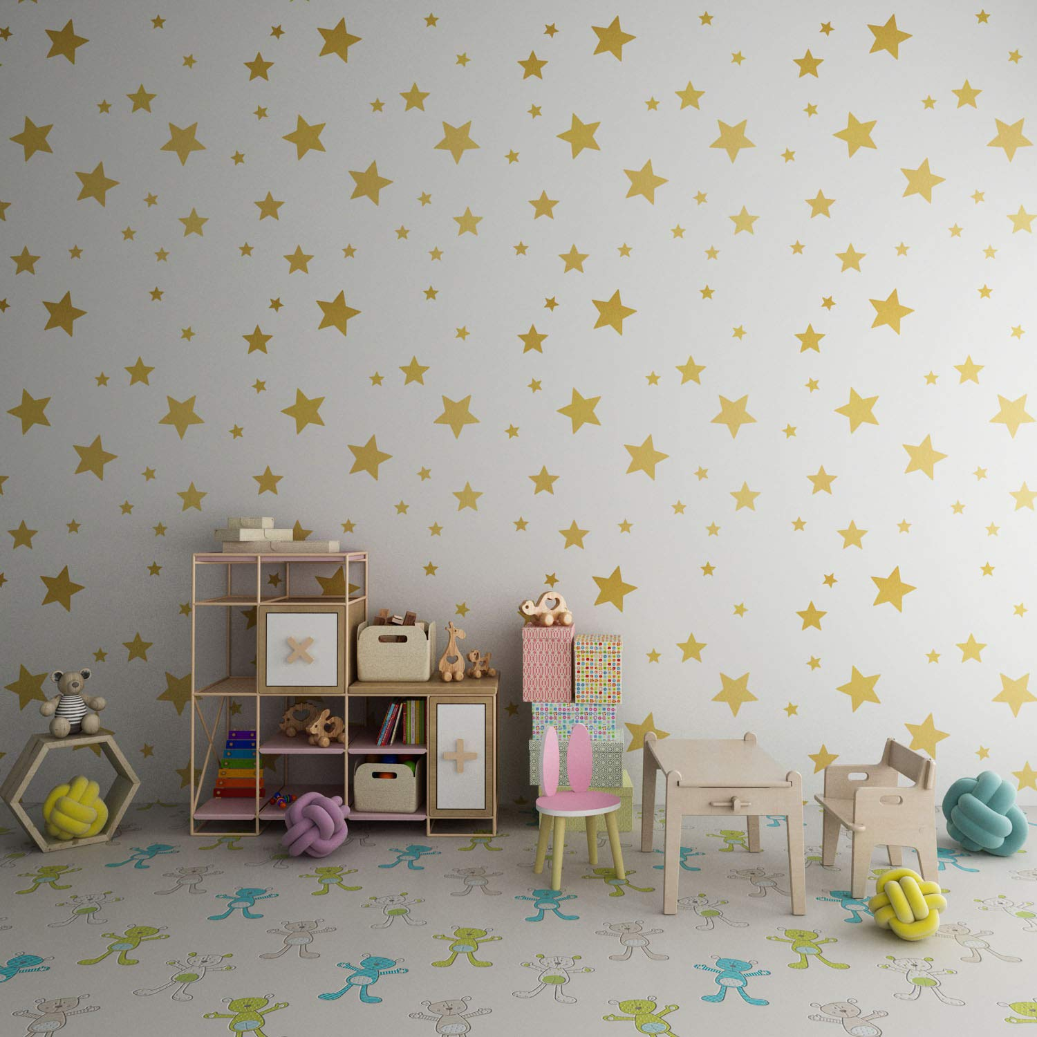 FOAL Gold Stars Wall Decals Wall Stickers Removable Home Decoration Easy to Peel Stick Painted Walls Metallic Vinyl Polka Wall Decor Sticker for Baby Kids Nursery Bedroom 216 Decals