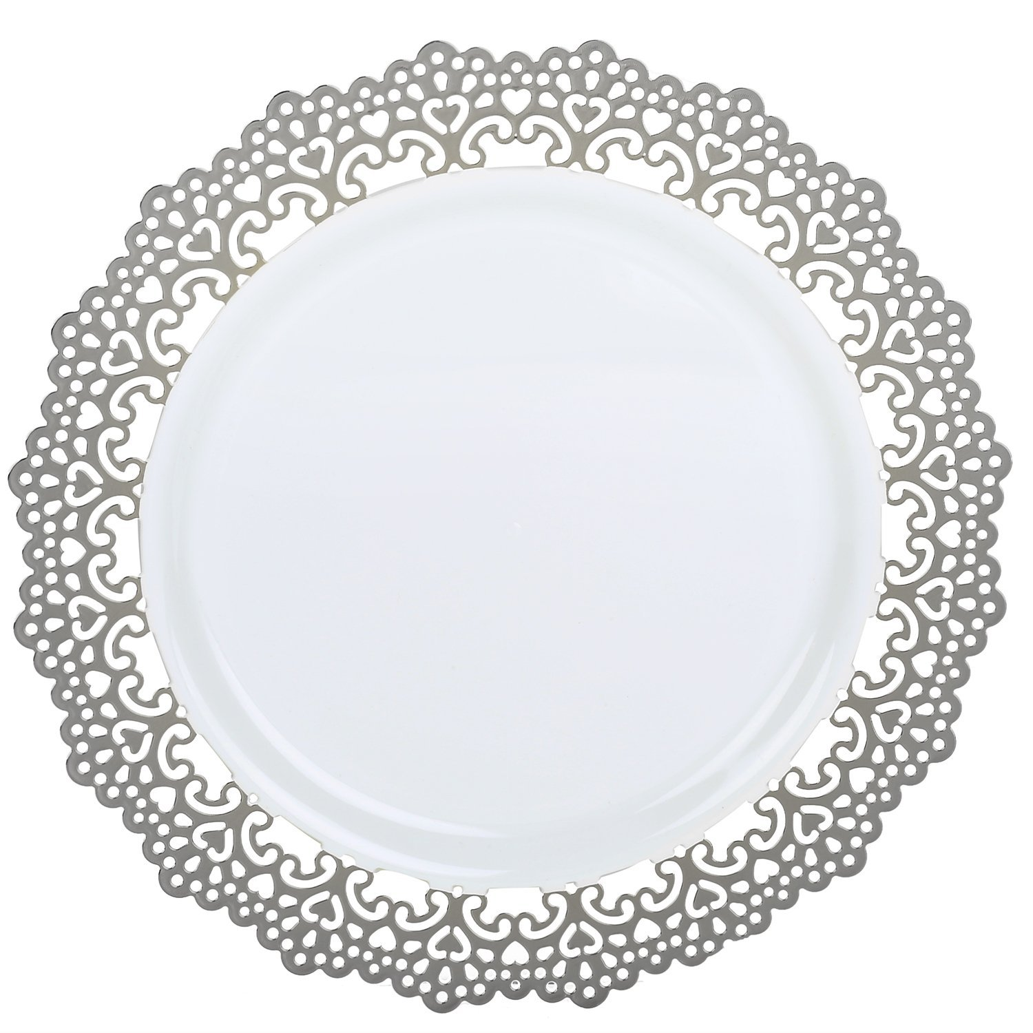 120 Piece Pack - Elegant Disposable Plastic Dinnerware - 9'' inch Buffet/Lunch/Appetizer/Dessert/Salad Party Plates - Silver Lace Trim by PartyPiks (Image #3)