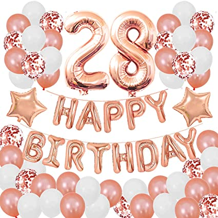 Happy 28th Birthday Party Decorations Rose Gold Latex and Confetti Balloons Happy Birthday Banner Foil Number Balloons and More For 28 Years Old Birthday Party Supplies