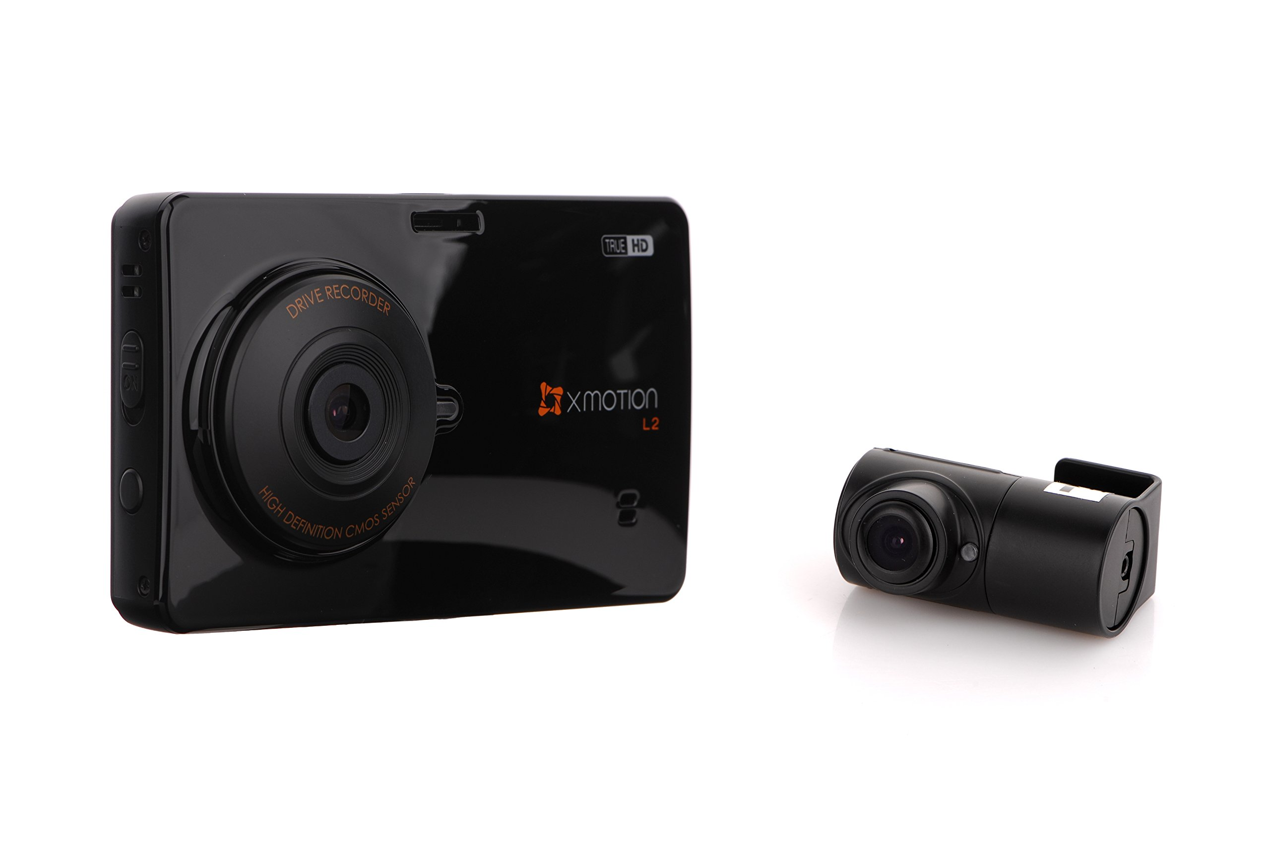XMOTION L2: 2-Channel True HD 3.5'' Touch Screen Front (720p) and Rear (720p) Premium In-Car Dashcam(Black Box) 16GB Storage