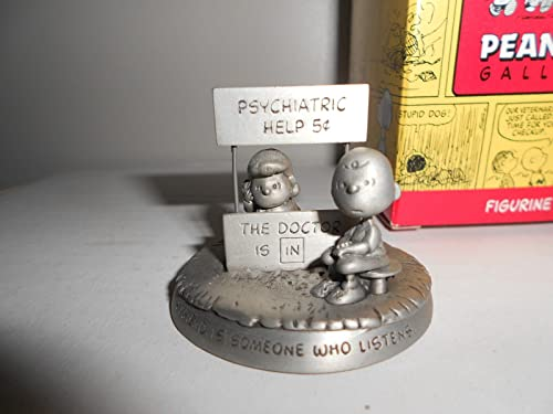 Hallmark Peanuts Gallery BEING THERE Lucy Charlie Brown Pewter Mood Booth – A Friend Is Someone Who Listens