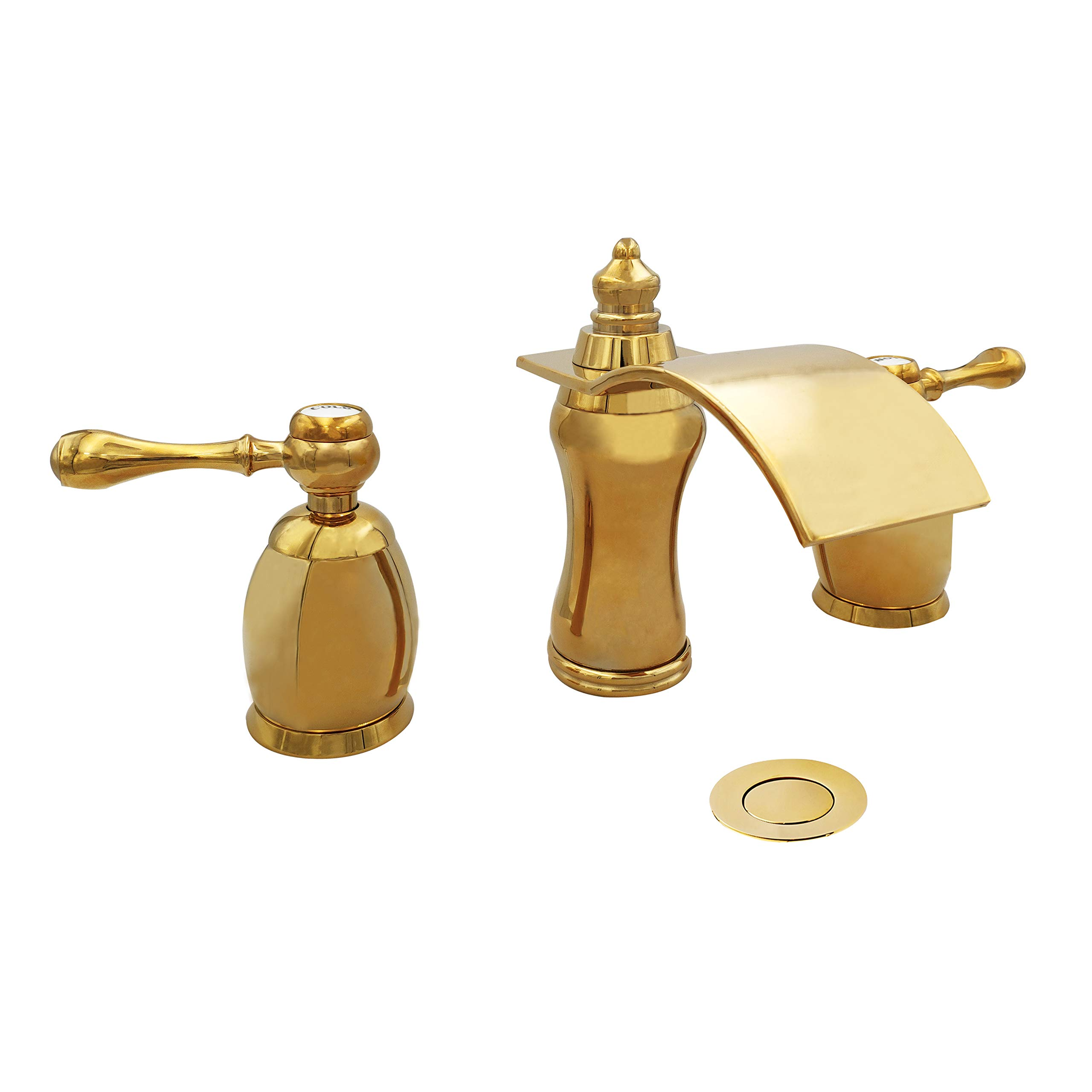 Wovier Gold Polished Waterfall Bathroom Sink Faucet,Two Handle Three Hole Vessel Lavatory Faucet,Widespread Basin Mixer Tap with Pop Up Drain,8 Inch Bathroom Faucet