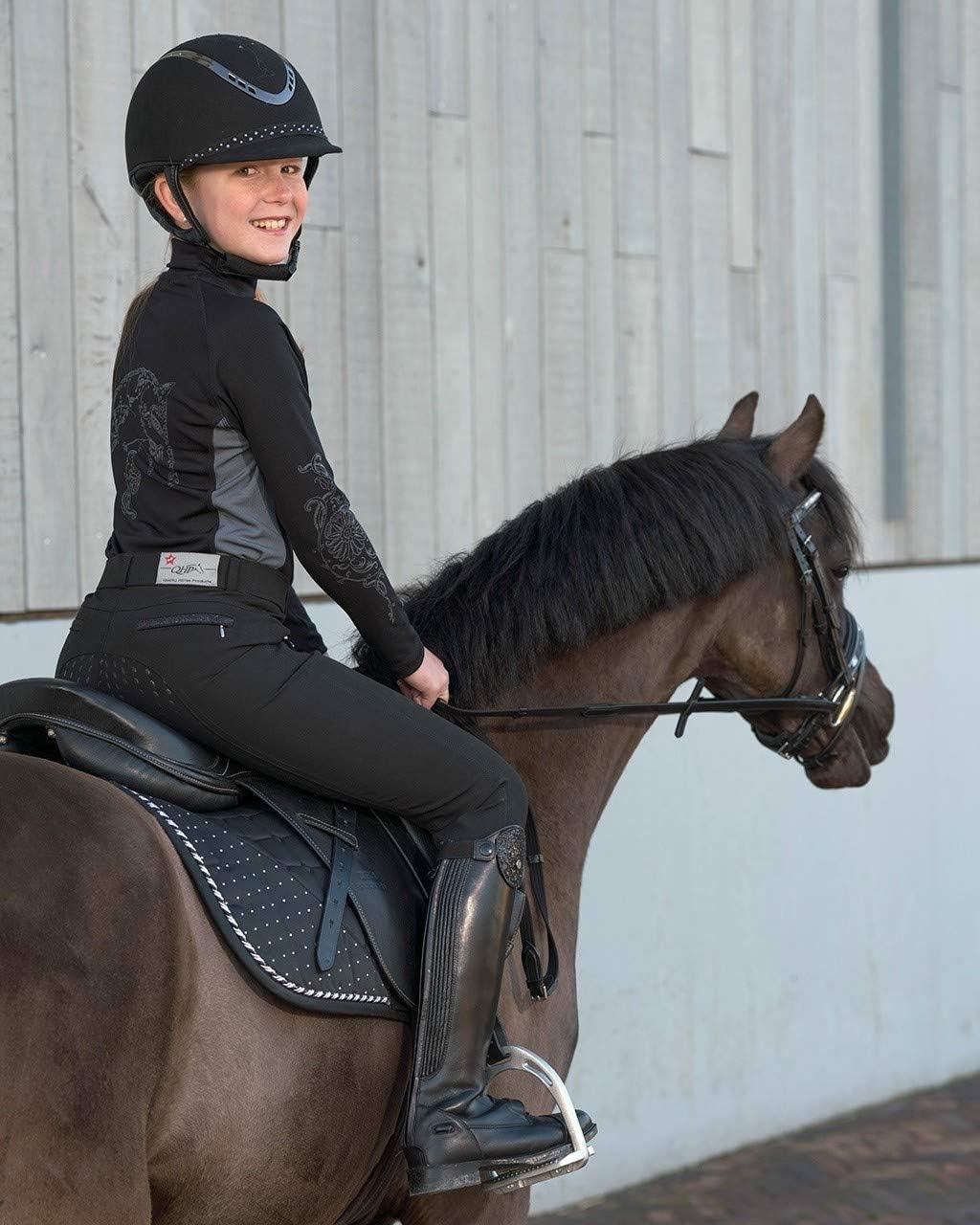 Pantalones de equitaci/ón para ni/ño QHP Mellany Agarre Completo, con Banda de Purpurina Delantera y Trasera
