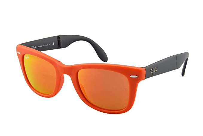 4dde304ebba03 Ray-Ban Men s Wayfarer Folding RB4105-601969-50 Orange Square Sunglasses