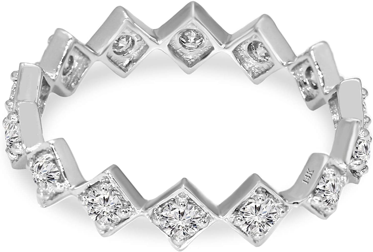 IGI Certified Lab Grown Diamond Ring 10K White Gold 5/8 carat Lab Created Diamond square eternity band Ring For Women (5/8 CTTW, GH - SI Quality Diamond Jewelry For Women)