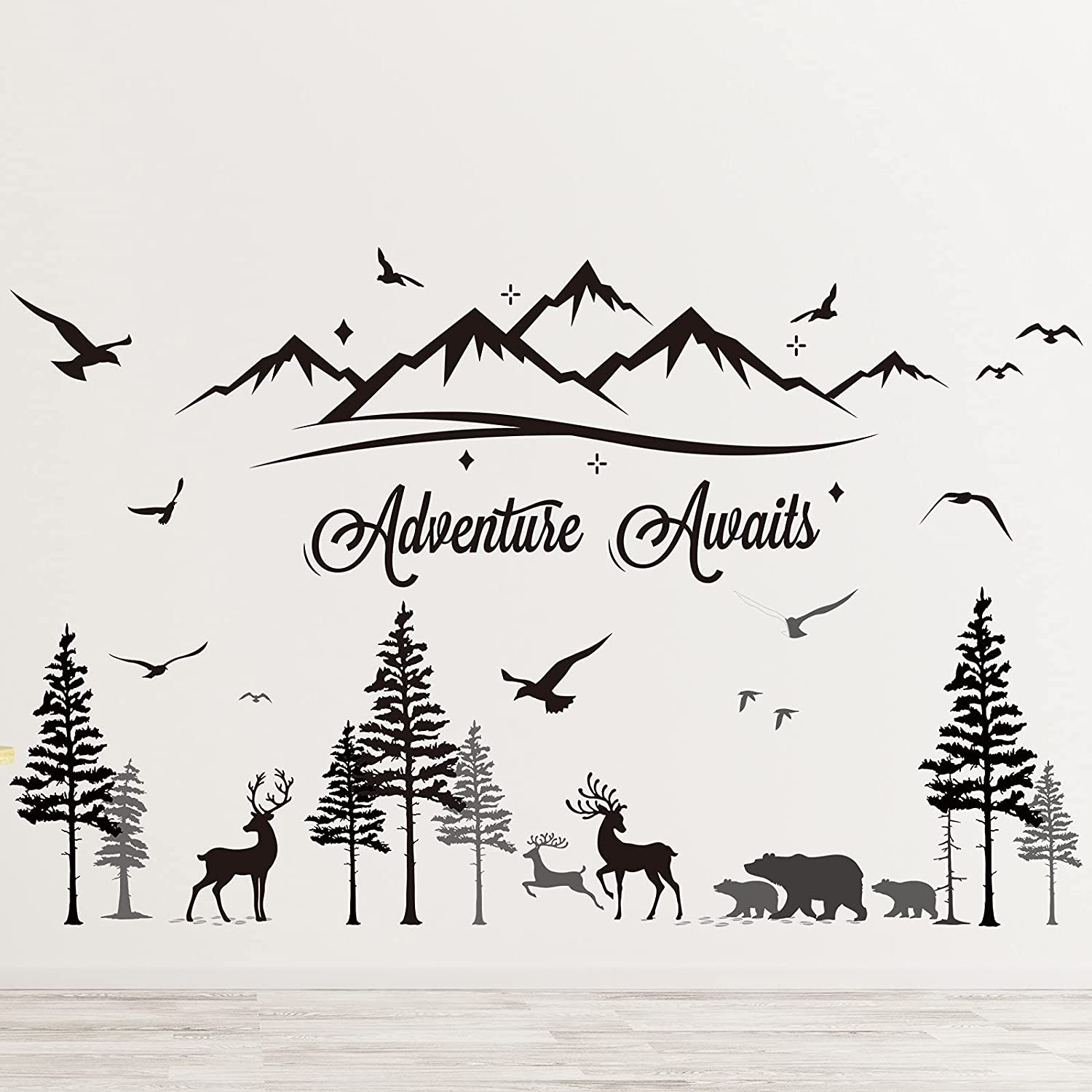 Adventure Awaits Wall Stickers Decals Removable Travel Inspirational Quotes Wall Decals Forest Pine Tree with Bear Home Decor Sticker for Kids Living Room Bedroom Nursery Room Home Decor