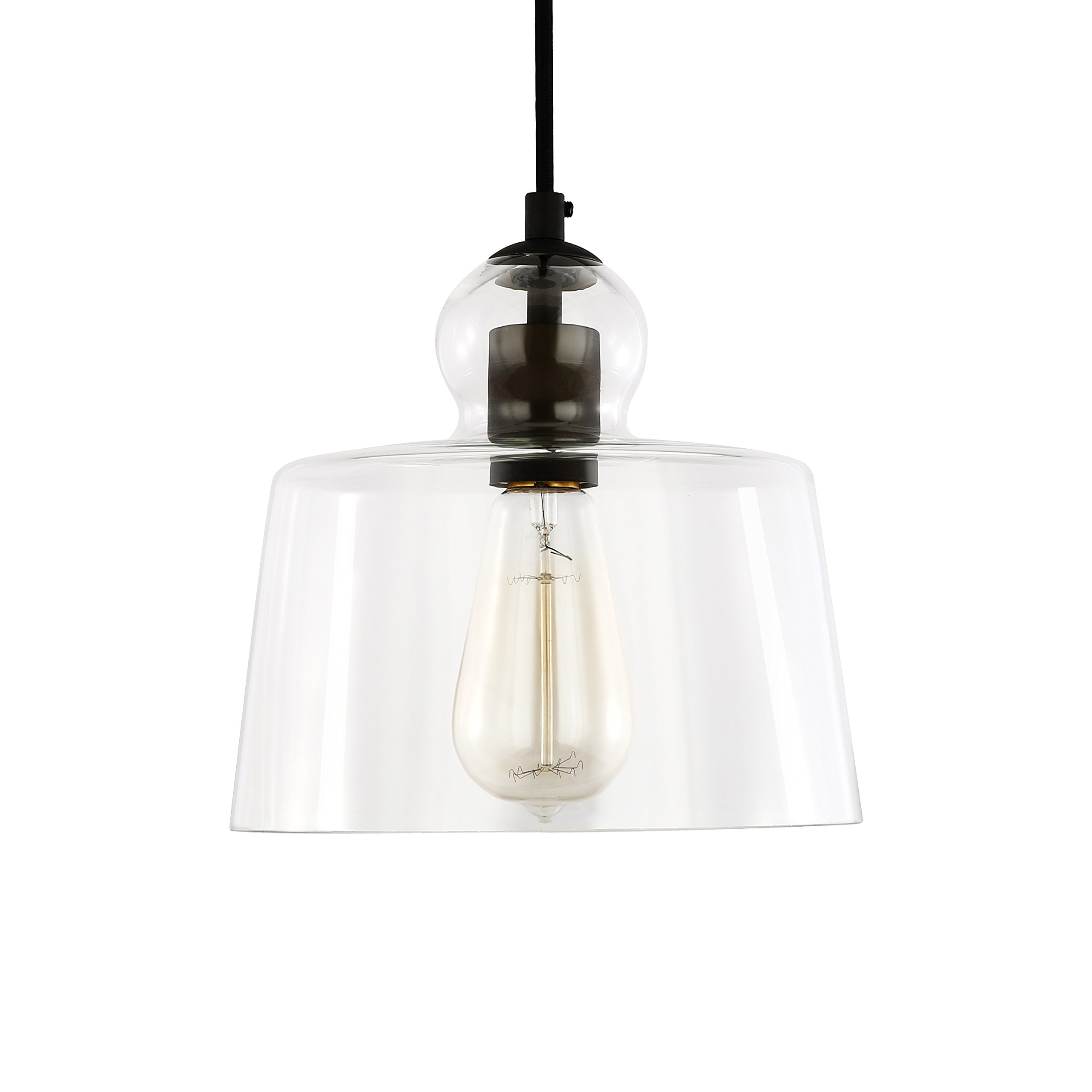 Light Society Tripoli Pendant Light, Oil Rubbed Bronze with Handblown Clear Glass Shade, Vintage Industrial Modern Lighting Fixture (LS-C247-ORB)