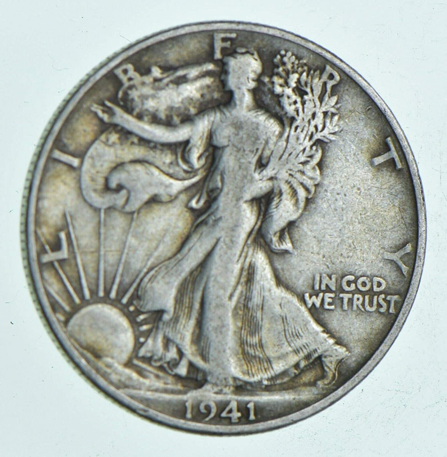 1941 D Walking Liberty 90/% Silver Half Dollar Grades VF to XF with Full Rim Date and Motto US Mint