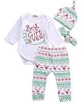 Baby Girls Toddler 4pcs Cute Set Bodysuits Leggings Headband Hat Outfits