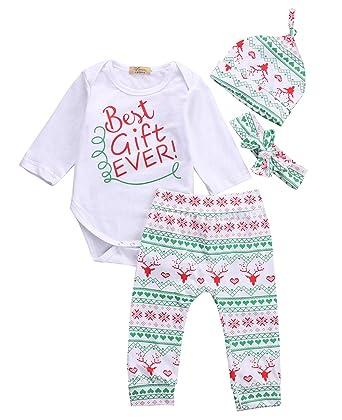 55c5a07b4a85 Baby Boys Girls Toddler 4pcs Christmas Set Bodysuits Leggings Headband Cap  Outfits (0-3M