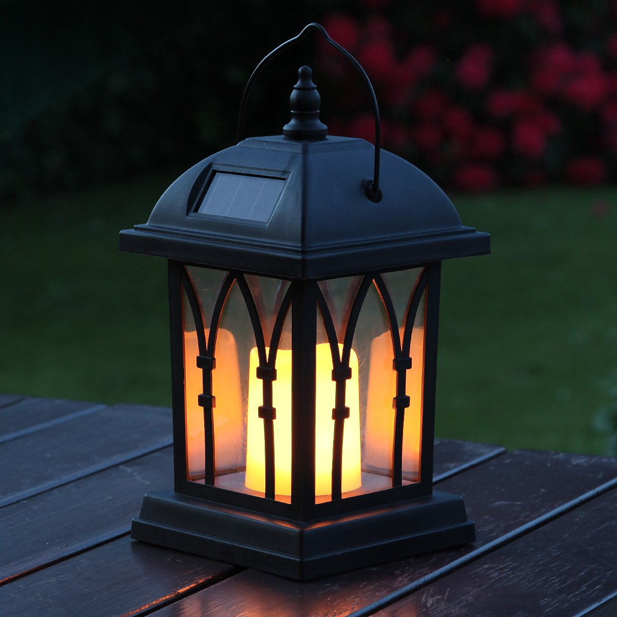 Festive Lights Garden Candle Lantern - Solar Powered - Flickering Effect - Amber LED - 27cm FL-2283