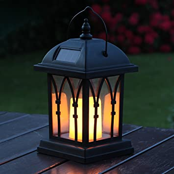 Garden Candle Lantern   Solar Powered   Flickering Effect   Amber LED    27cm By Festive