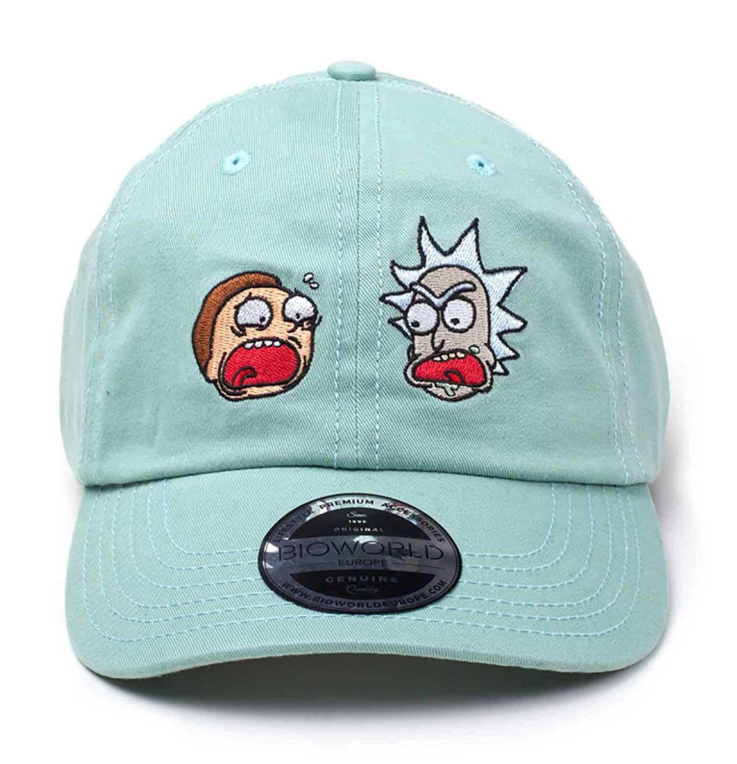 283e64f486aed Amazon.com  Rick   Morty Baseball Dad Cap Faces Schwifty Official Green   Clothing