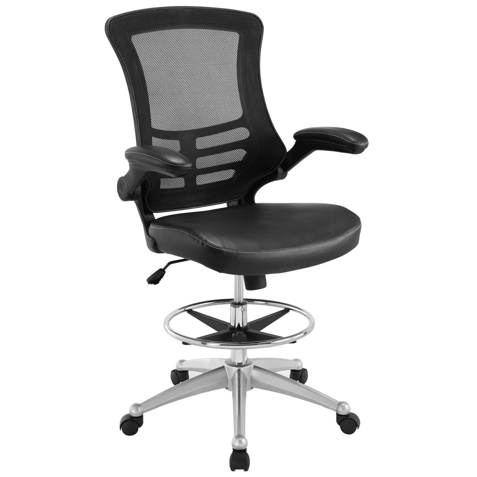 Modway Attainment Drafting Chair In Black - Reception Desk Chair - Tall Office Chair For Adjustable Standing Desks - Flip-Up Arm Drafting Table Chair… (Renewed)