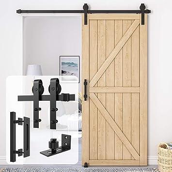 Black Fit 1 3//8-1 3//4 Thickness Door Panel Homlux 6.6ft Heavy Duty Sturdy Sliding Barn Door Hardware Kit Single Door Whole Set Include 1x Round Door Handle 1x Floor Guide
