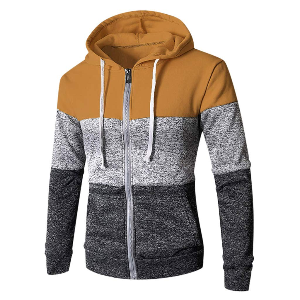 〓COOlCCI〓Men's Fashion Hoodies & Sweatshirts, Mens Novelty Color Block Patchwork Zip up Hoodies Cozy Sport Outwear Tops Yellow by COOlCCI_Mens Clothing
