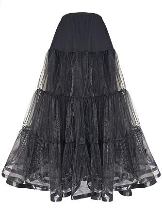 Shimaly Womens Floor Length Wedding Petticoat Long Underskirt for Formal Dress (S-M, Black)