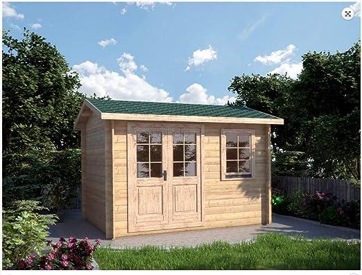Mondocasette Casa Casa de Madera de jardín – Modelo Ula Grosor Paredes 28 mm 340 x 250 cm Box ripostiglio Chalet Bungalow: Amazon.es: Jardín