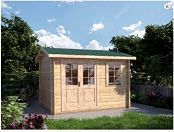 Mondocasette Casa Casa de Madera de jardín - Modelo Ula Grosor Paredes 28 mm 340 x 250 cm Box ripostiglio Chalet Bungalow: Amazon.es: Jardín