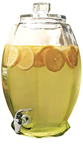 Circleware 92001 Cranston Beverage Dispenser with Glass Lid, Sun Tea Jar with Spigot Kitchen Entertain Glassware Water Pitcher for Juice, Wine, Kombucha and Cold Drinks, Clear, Huge 3 Gallon