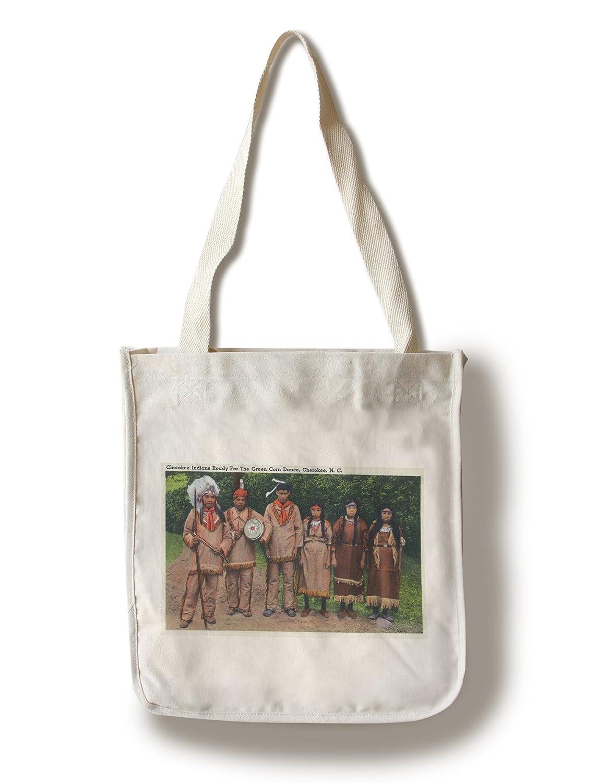 North Carolina – チェロキーIndians Ready forグリーンCornダンス Canvas Tote Bag LANT-32706-TT B01841P2EU  Canvas Tote Bag