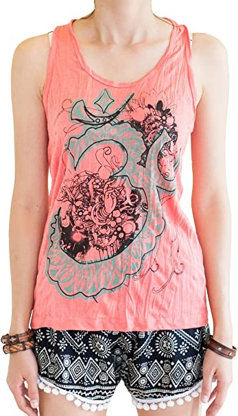 BohoHill Womens Yoga Shirt Om Flower Casual Tank Top Vest Coral Pink