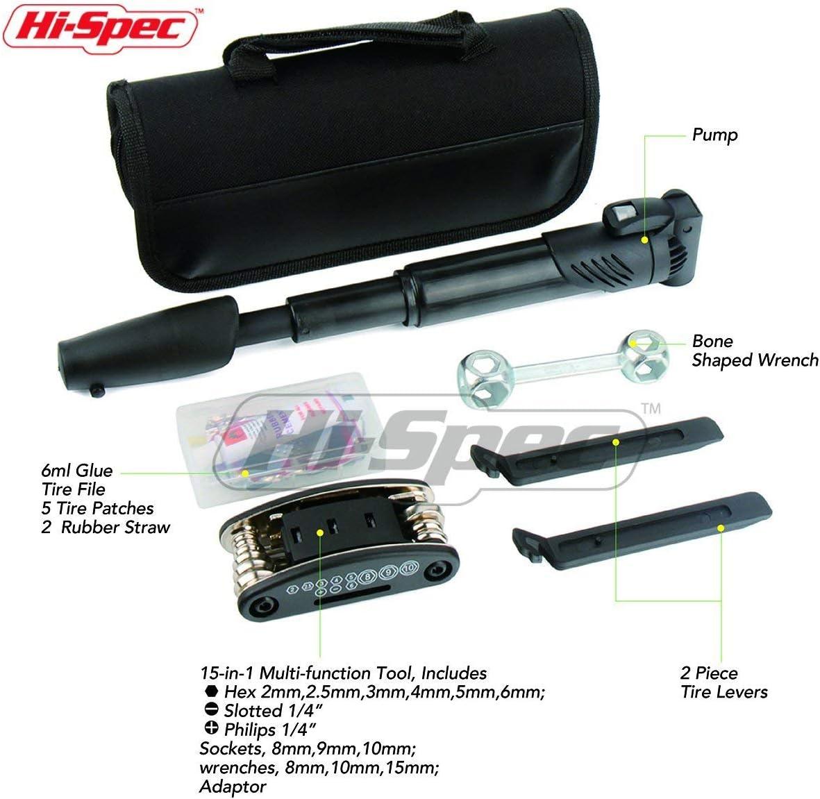 Hi-Spec 28 Pièce Vélo Outil Kit incluant pompe Urgence Pneu Tube Crevaison Kit,