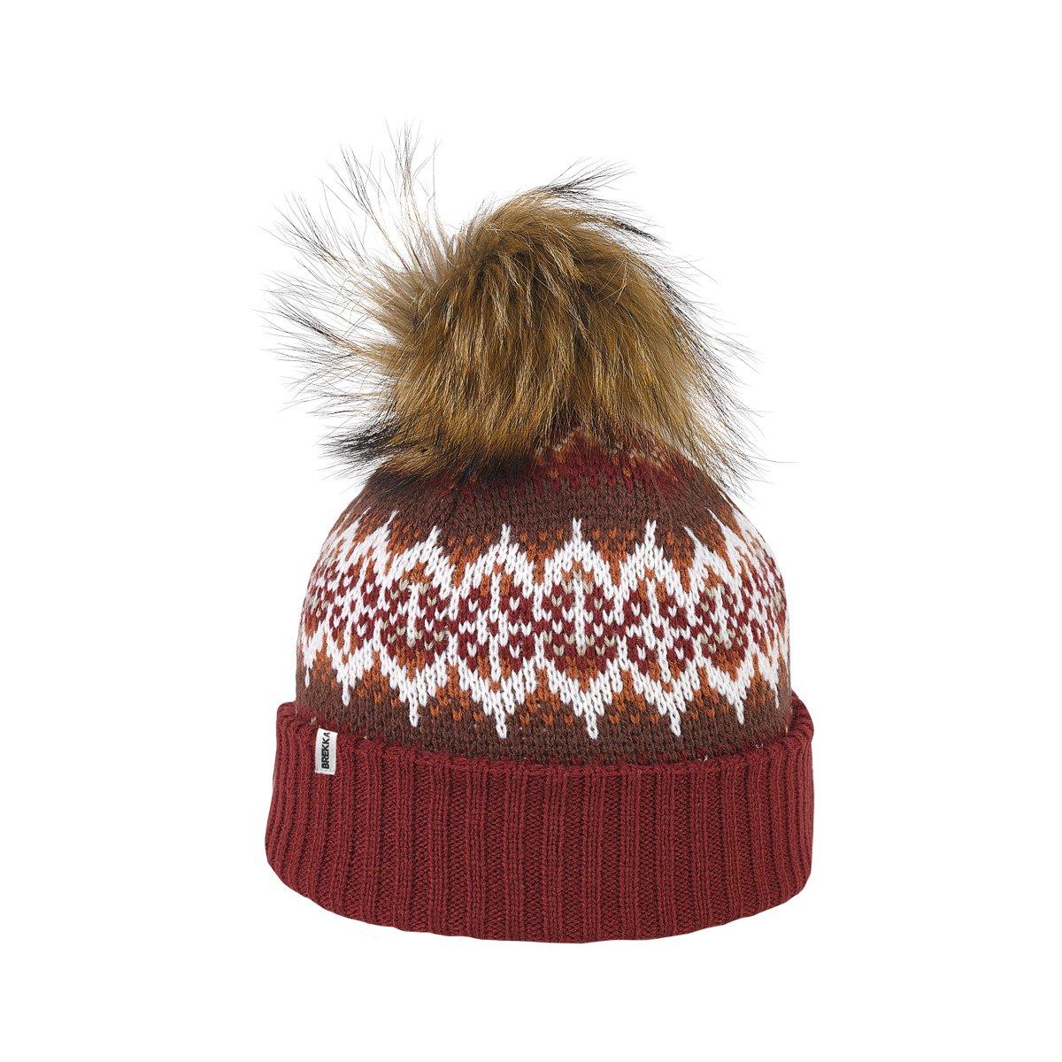 Brekka berretto con pompon, Yorkshire Racoon Pon, Donna, Bommelmütze Yorkshire Racoon Pon, Burgundi,...