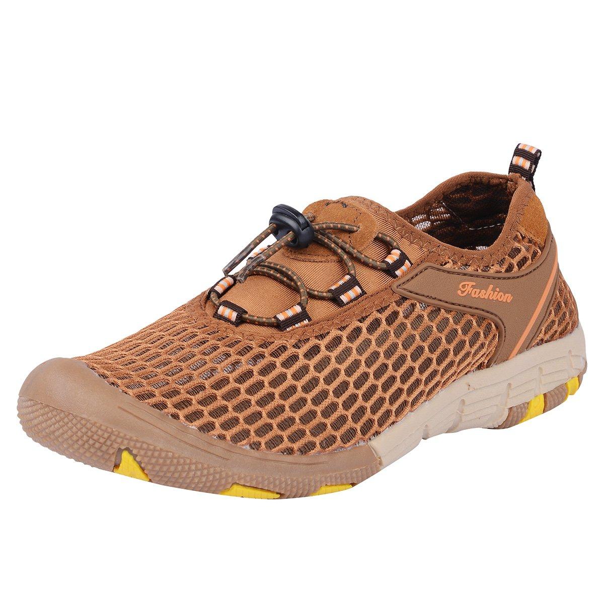 Neoyowo Mens Quick Drying Aqua Water Shoes for Hiking Beach Walking(Light Brown 45 EU)