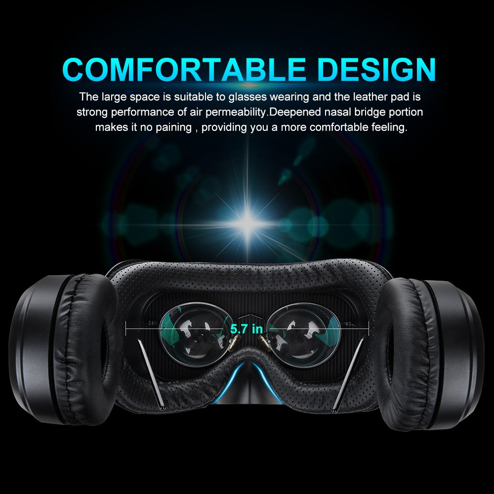 Pansonite Vr Headset with Remote Controller, 3d Glasses Virtual Reality Headset for VR Games & 3D Movies, Eye Care System for iPhone and Android Smartphones (Sb-black) by Pansonite (Image #4)