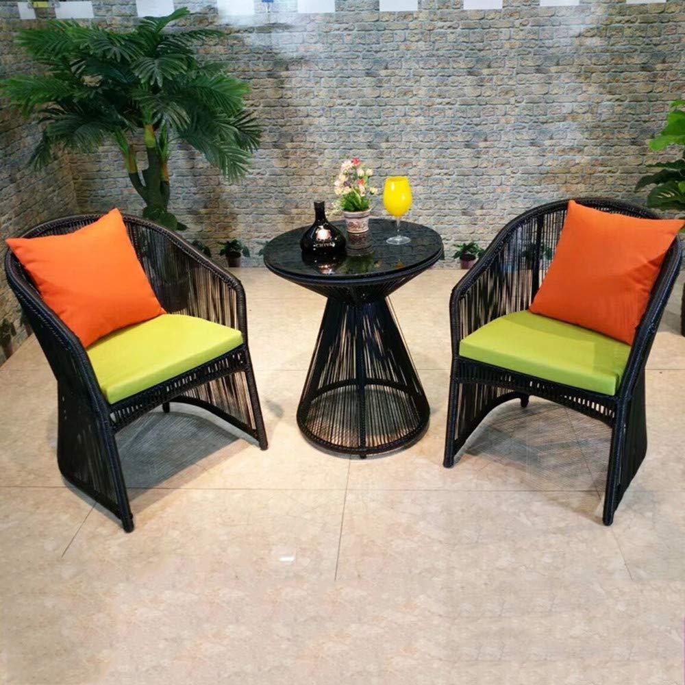 DASENLIN Kreative Runde Teetisch Wohnzimmer Innenhof Rattan Tisch und Stuhl Kombination Kit, ein Tisch zWeißStühle