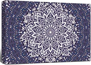 """Lamplig Wall Art for Bedroom Boho Canvas Prints Bohemian Flower Pictures Floral Mandala Modern Paintings Blue with Purple Artwork Stretched and Framed for Living Room Home Room Wall Decor 24"""" x 16"""""""
