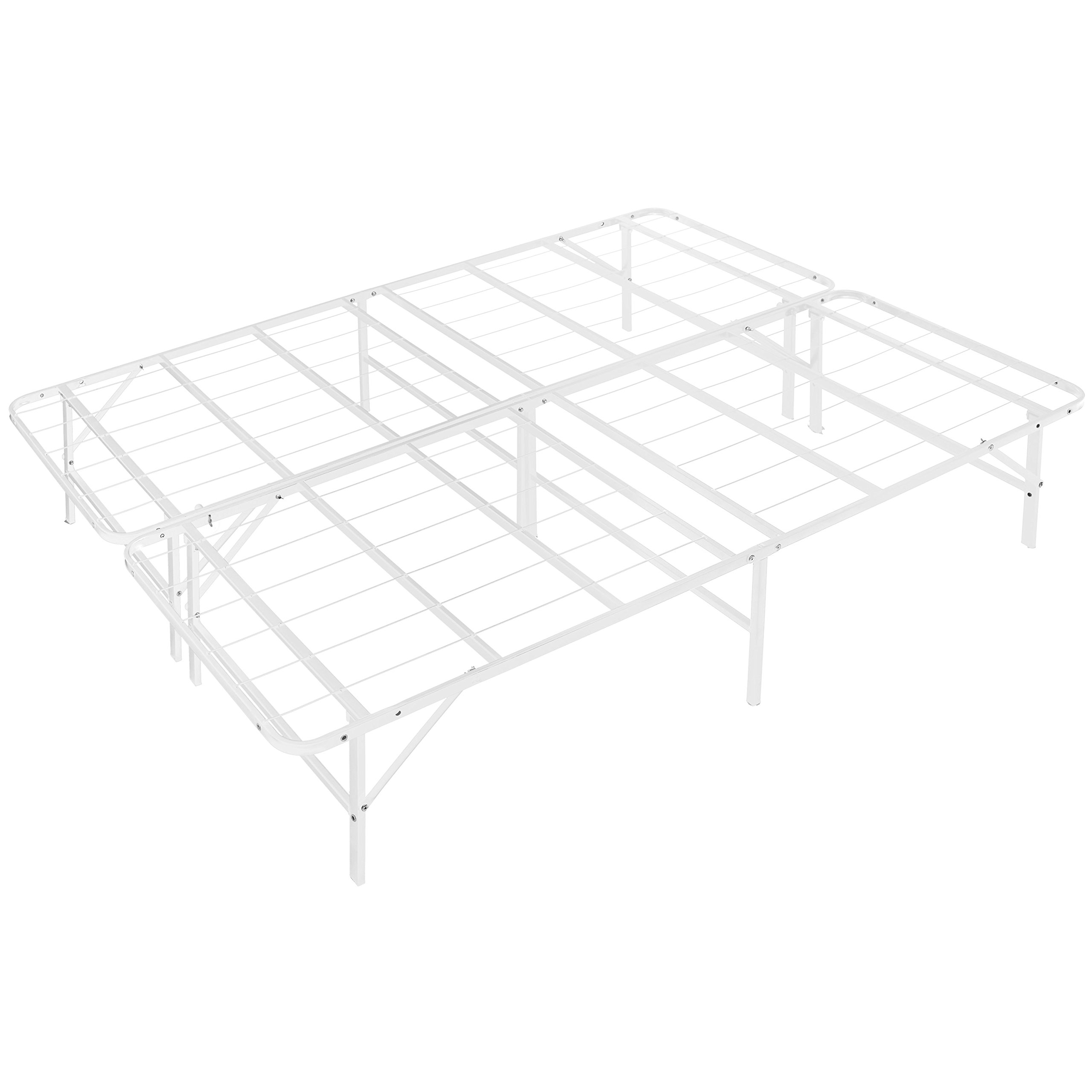 Naomi Home idealBase 14'' Platform Metal Bed Frame - Mattress Foundation - Box Spring Replacement Queen/White
