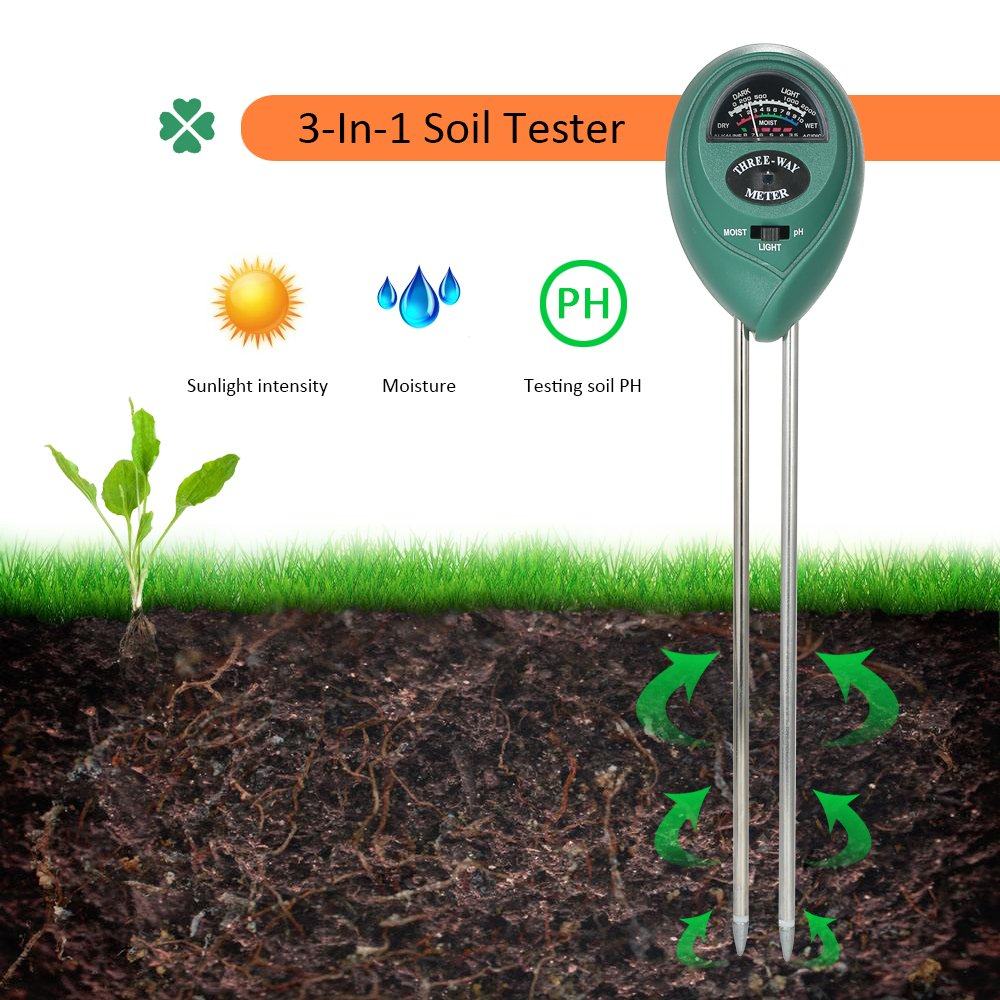 Hmjunboys Soil Tester Soil pH Meter, 3 in 1 Soil Test Kit for Moisture, Light & pH/Acidity, Gardening Tool for Home, Garden, Lawn, Farm, Plants, Indoor & Outdoor Plant Care. (No Battery Needed)