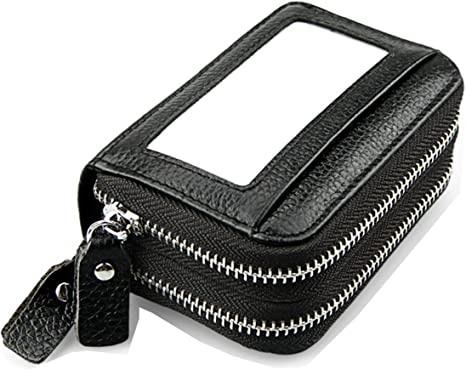 Leather Credit Card Holder Wallet W// Zipper RFID Blocking Purse Black Women Men