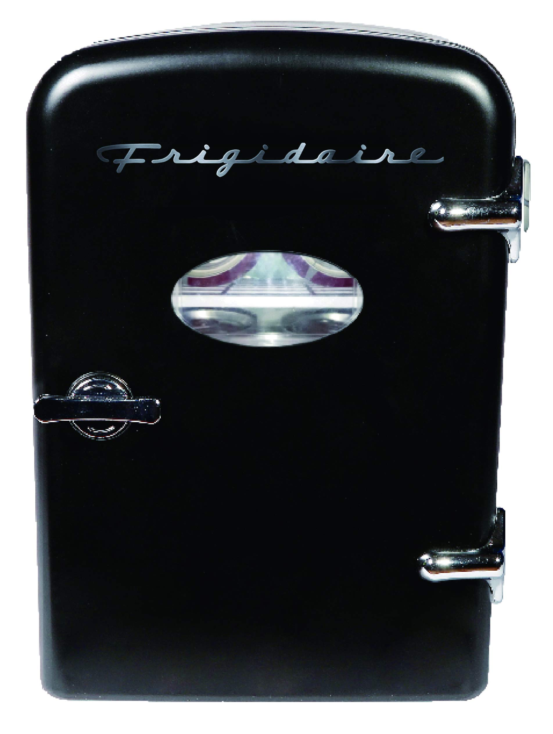 Frigidaire EFMIS129-BLACK 6 Can Retro Mini Portable Personal Fridge/Cooler for Home, Office or Dorm, Black