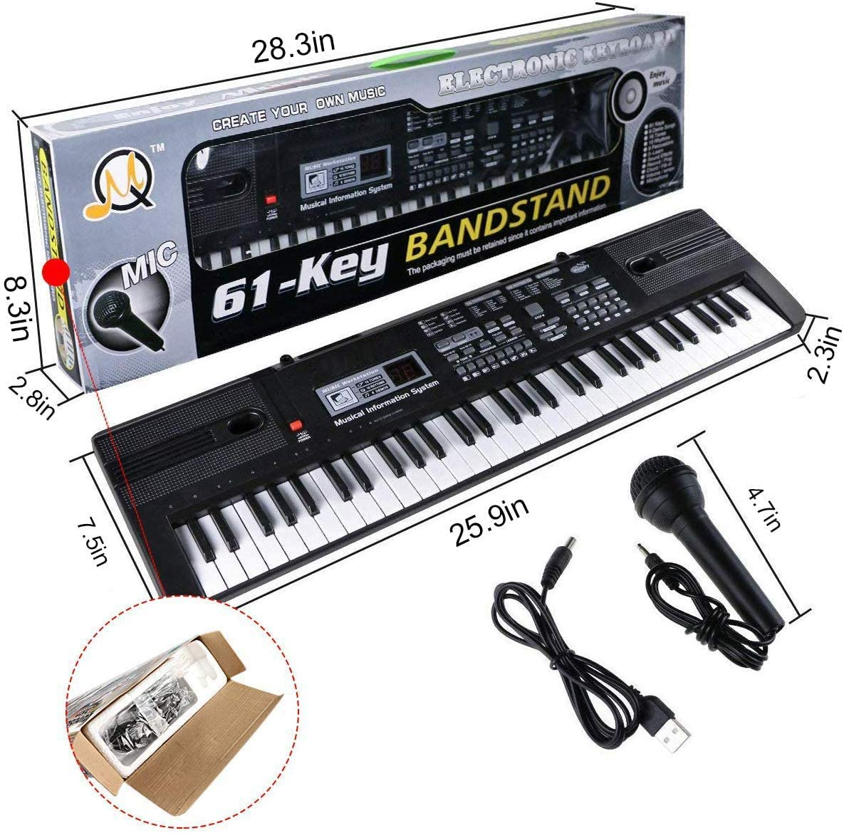 teclado con micr/ófono instrumento musical electr/ónico port/átil para ni/ños Teclado de piano de m/úsica digital de 61 teclas piano ni/ños y ni/ñas juguetes de regalo de Navidad para principiantes
