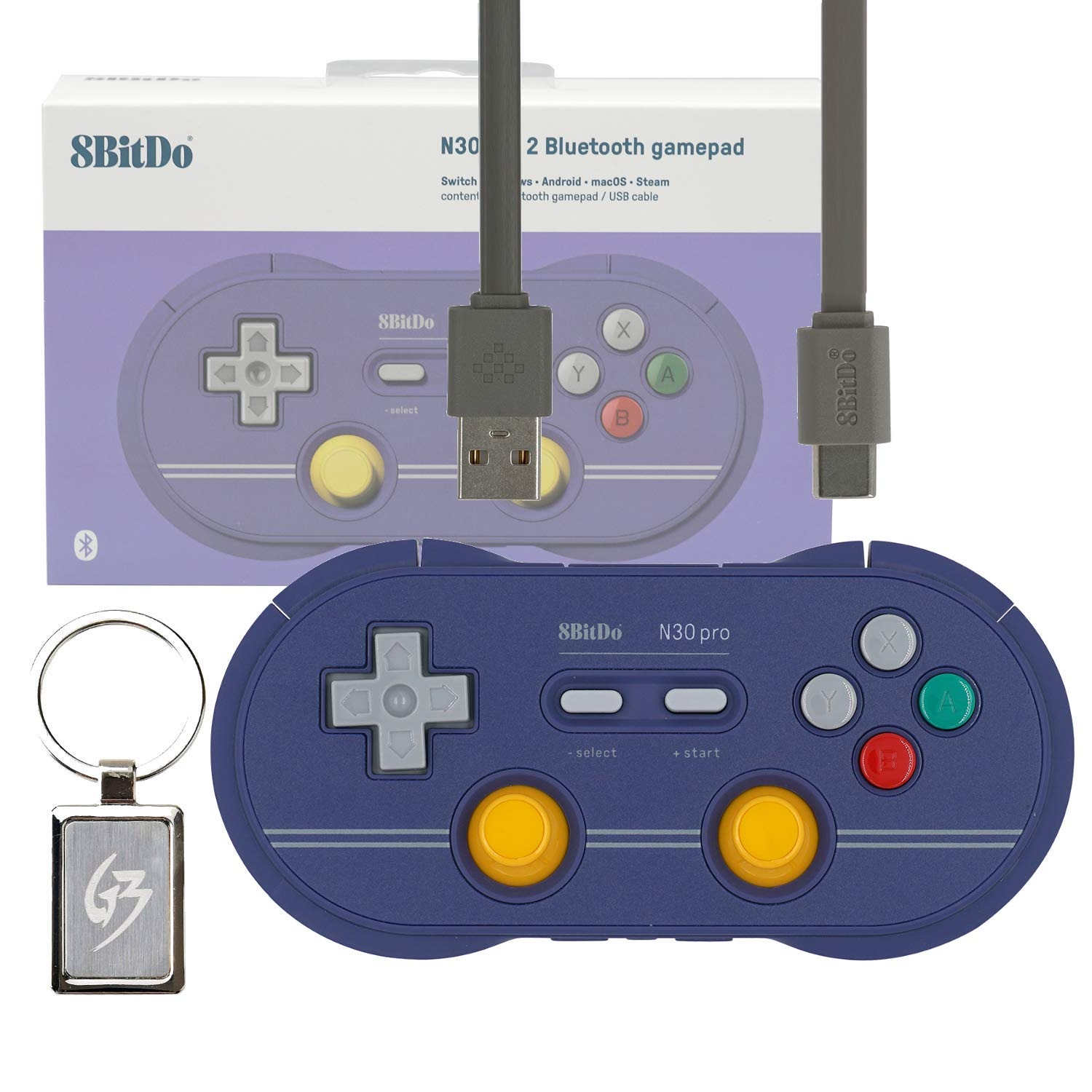 Mcbazel 8Bitdo N30 Pro 2 Wireless Bluetooth Gamepad Controller C Edition for Nintendo Switch Windows MacOS Android Steam with Gam3Gear Keychain